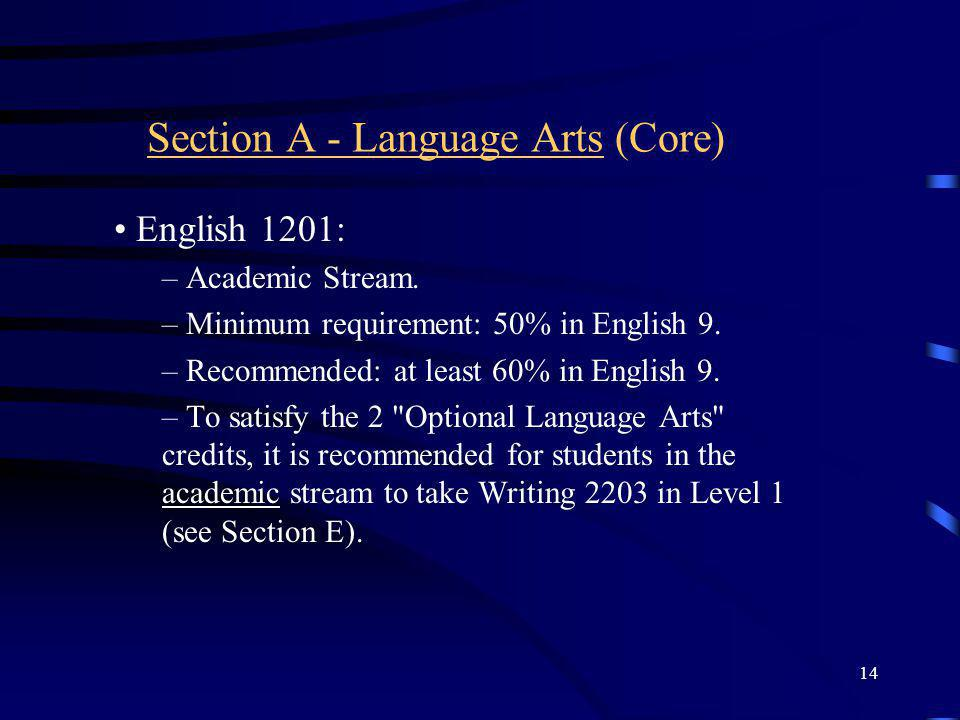 14 Section A - Language Arts (Core) English 1201: – Academic Stream.