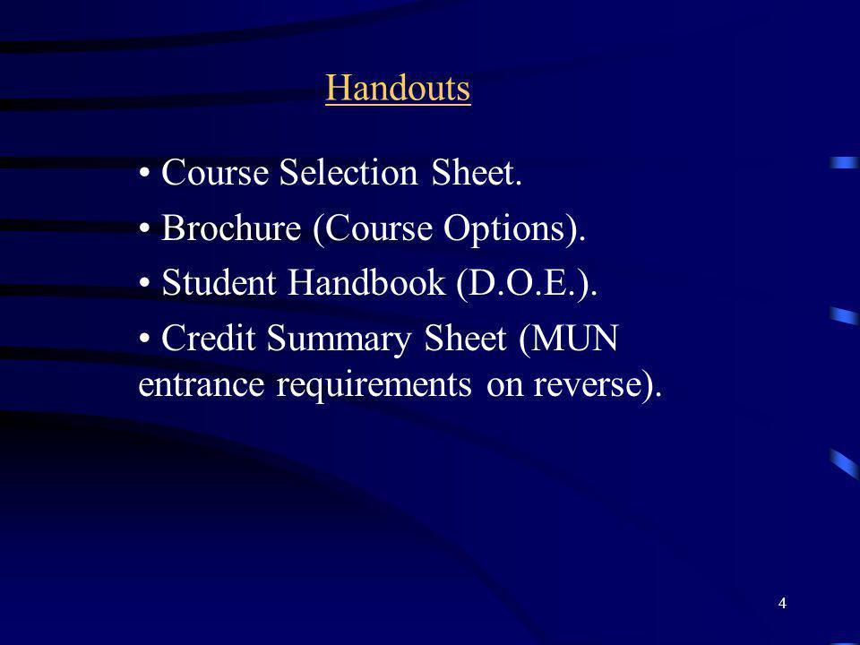 4 Handouts Course Selection Sheet.Brochure (Course Options).