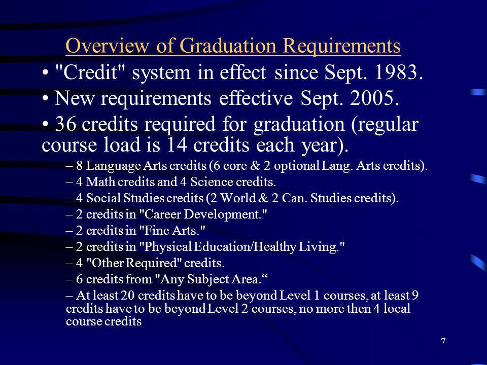 7 Overview of Graduation Requirements Credit system in effect since Sept.