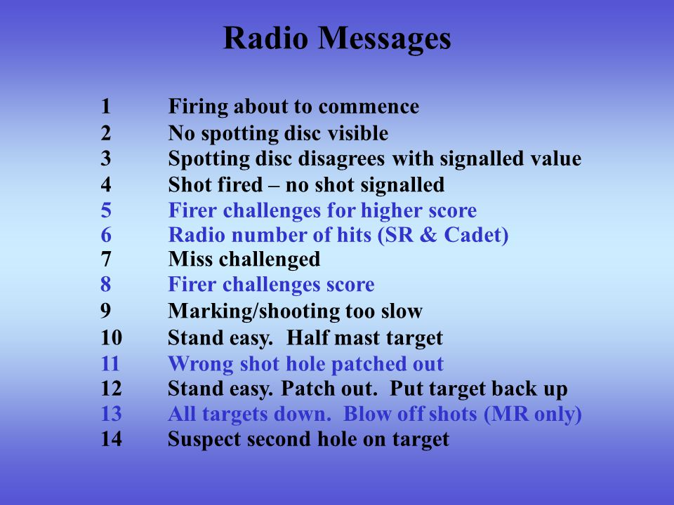 Radio Messages 1Firing about to commence 14Suspect second hole on target 13All targets down.