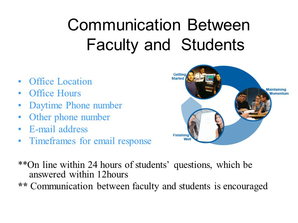 Communication Between Faculty and Students Office Location Office Hours Daytime Phone number Other phone number E-mail address Timeframes for email response **On line within 24 hours of students questions, which be answered within 12hours ** Communication between faculty and students is encouraged