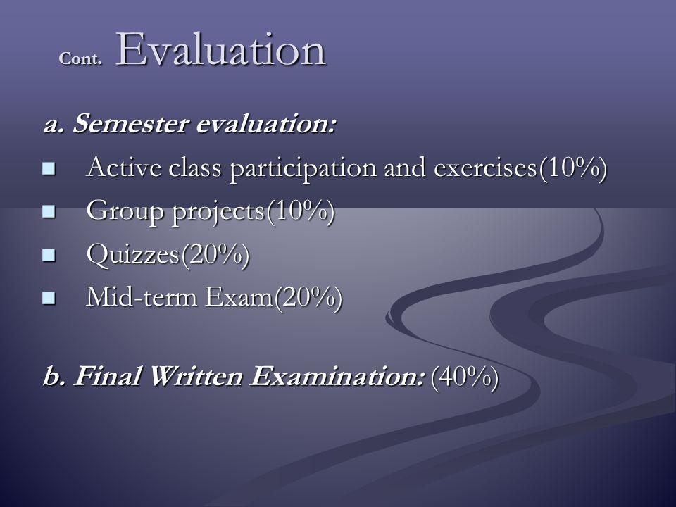 Cont. Evaluation a. Semester evaluation: Active class participation and exercises(10%) Active class participation and exercises(10%) Group projects(10