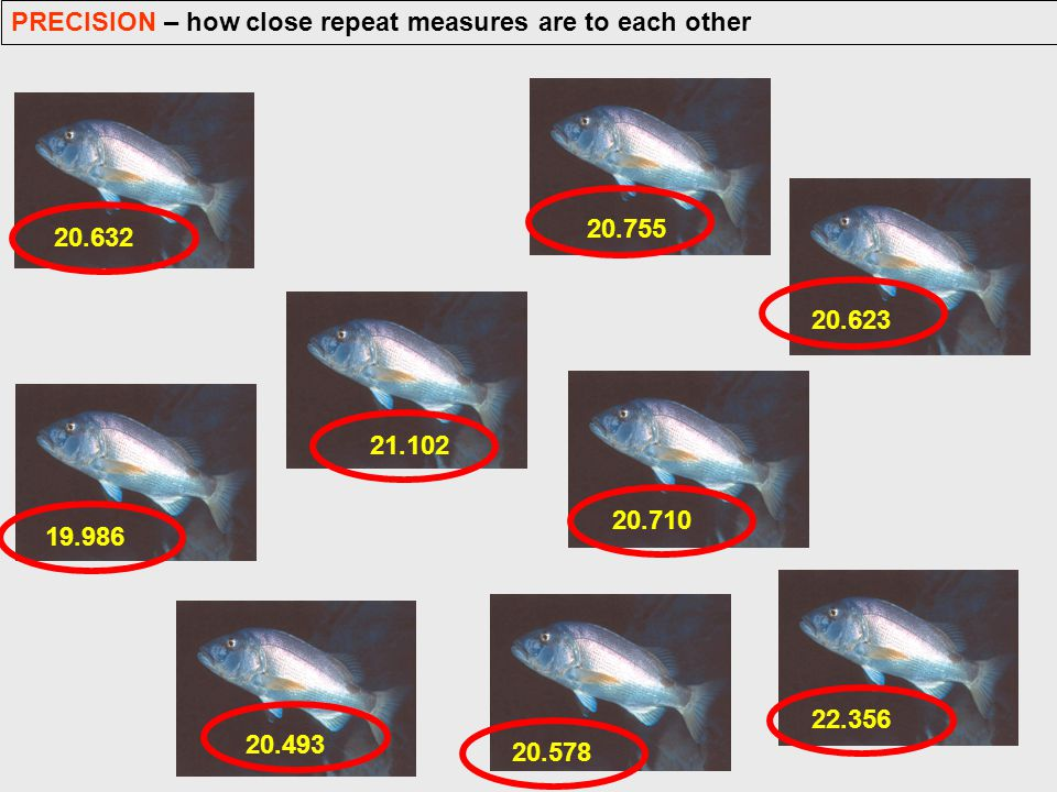 PRECISION – how close repeat measures are to each other 20.632 19.986 21.102 20.493 20.578 20.710 22.356 20.623 20.755