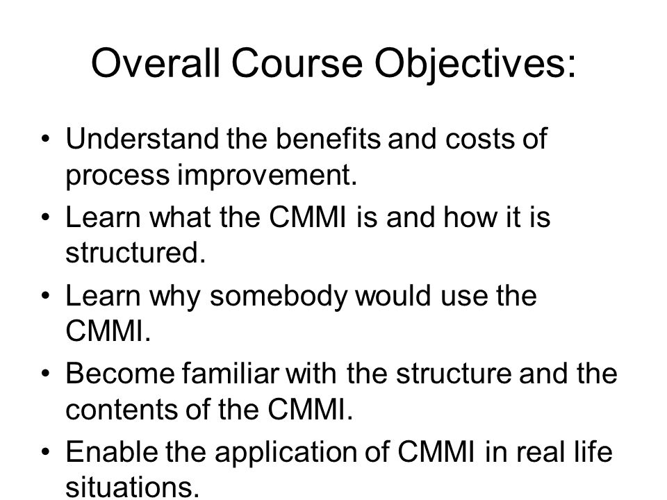 CMMI Course Introduction CMMI course - 2006 Module 0. THE END
