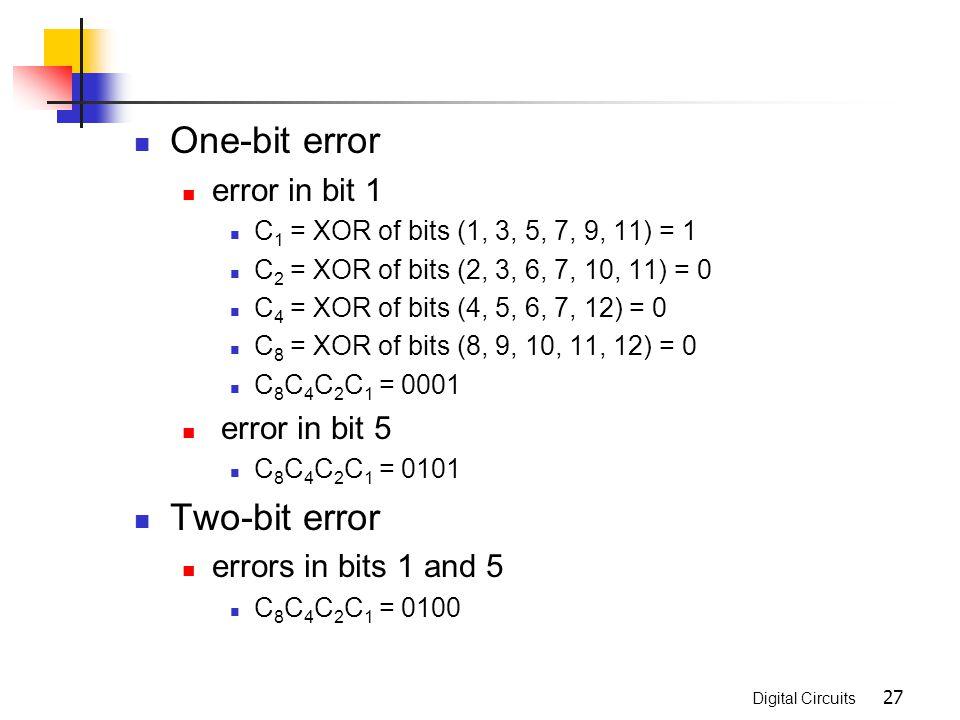 Digital Circuits 27 One-bit error error in bit 1 C 1 = XOR of bits (1, 3, 5, 7, 9, 11) = 1 C 2 = XOR of bits (2, 3, 6, 7, 10, 11) = 0 C 4 = XOR of bit