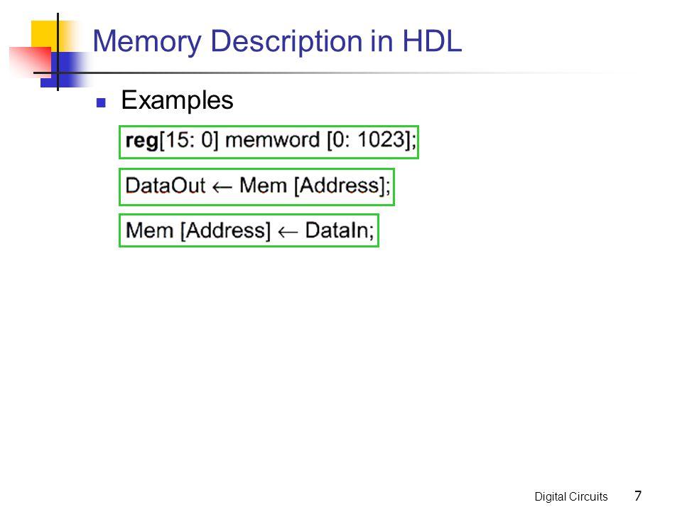 Digital Circuits 7 Memory Description in HDL Examples