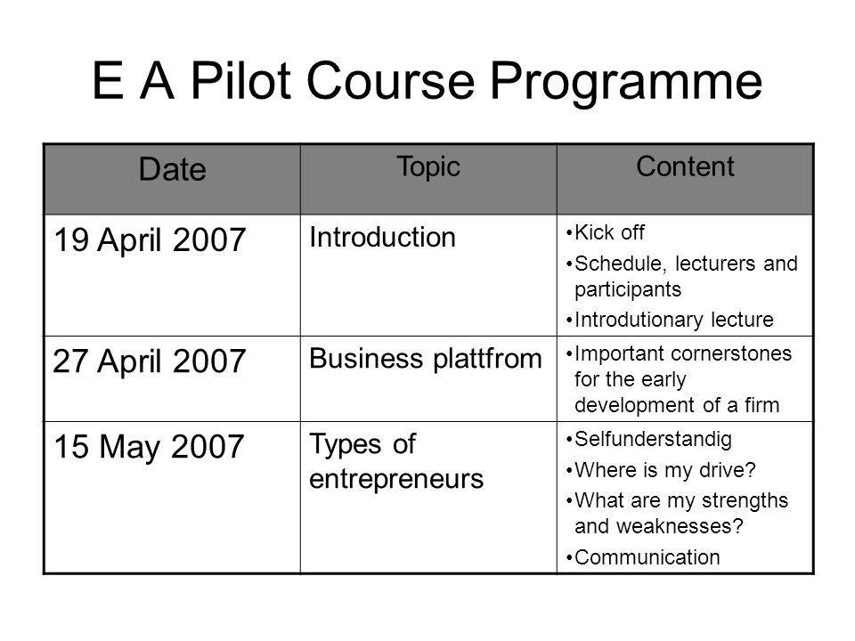 E A Pilot Course Programme Date TopicContent 19 April 2007 Introduction Kick off Schedule, lecturers and participants Introdutionary lecture 27 April