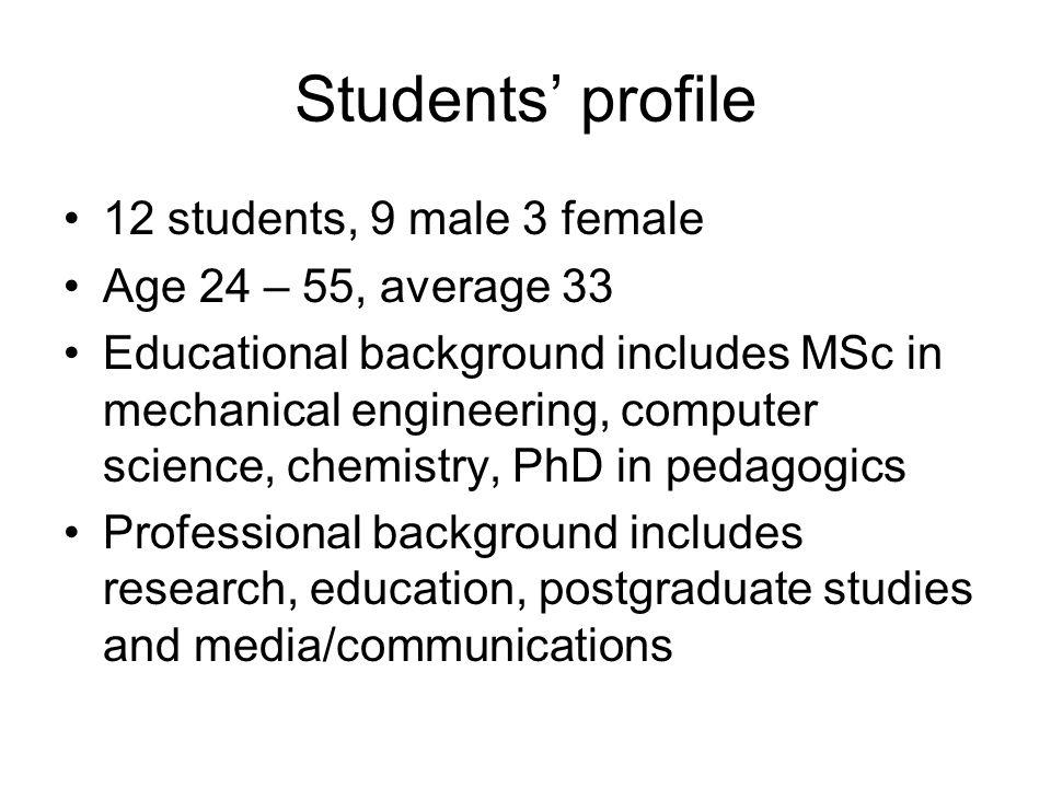 Students profile 12 students, 9 male 3 female Age 24 – 55, average 33 Educational background includes MSc in mechanical engineering, computer science,