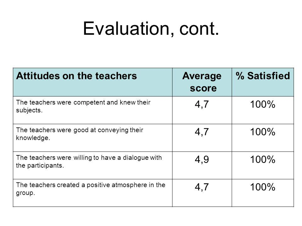 Evaluation, cont. Attitudes on the teachersAverage score % Satisfied The teachers were competent and knew their subjects. 4,7100% The teachers were go