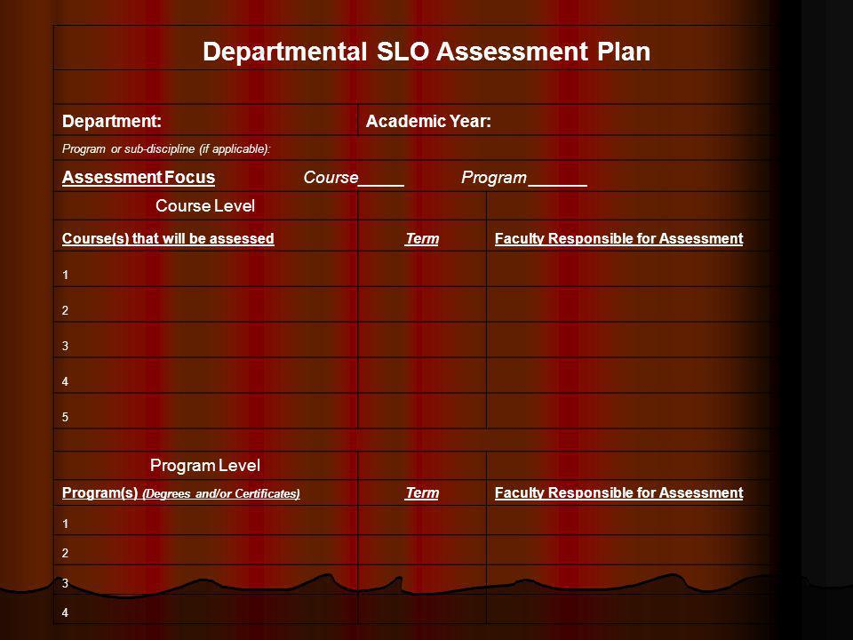 Departmental SLO Assessment Plan Department:Academic Year: Program or sub-discipline (if applicable): Assessment Focus Course_____ Program ______ Course Level Course(s) that will be assessedTermFaculty Responsible for Assessment 1 2 3 4 5 Program Level Program(s) (Degrees and/or Certificates) TermFaculty Responsible for Assessment 1 2 3 4