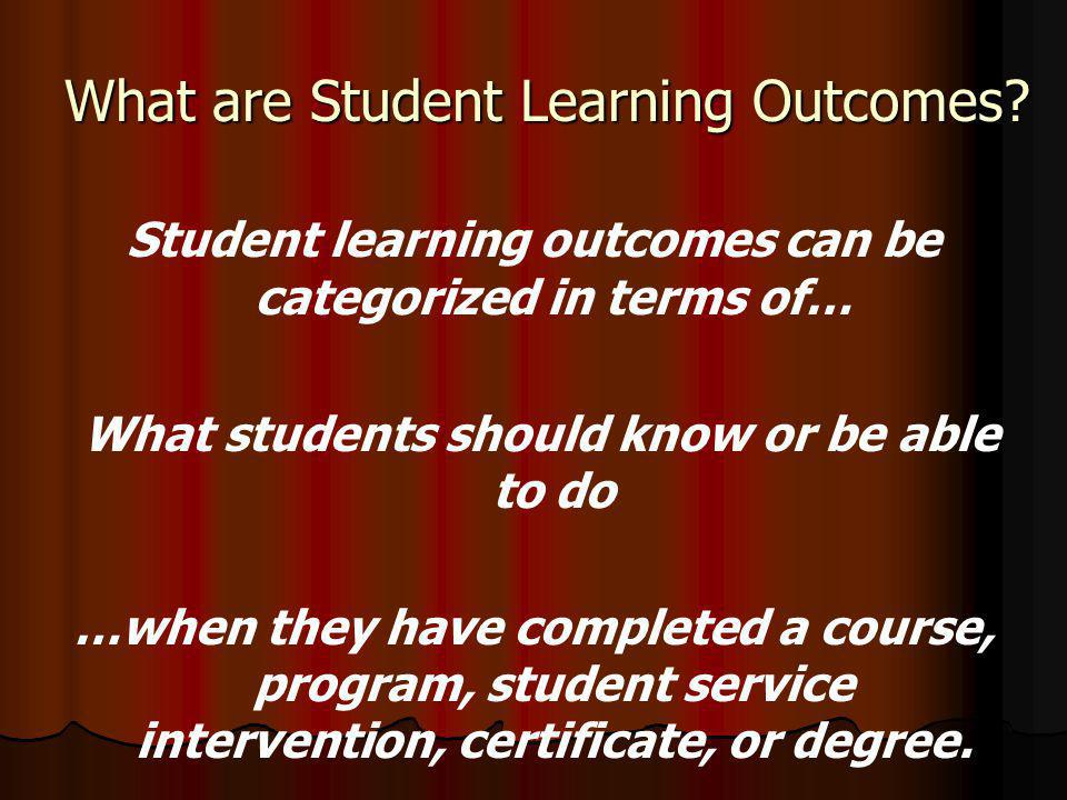 What are Student Learning Outcomes.
