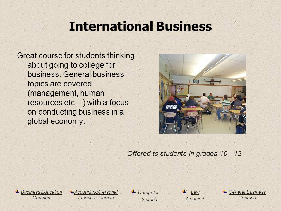 Business Education Courses Accounting/Personal Finance Courses Computer Courses Law Courses General Business Courses International Business Great course for students thinking about going to college for business.