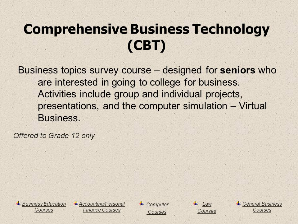 Business Education Courses Accounting/Personal Finance Courses Computer Courses Law Courses General Business Courses Comprehensive Business Technology (CBT) Business topics survey course – designed for seniors who are interested in going to college for business.