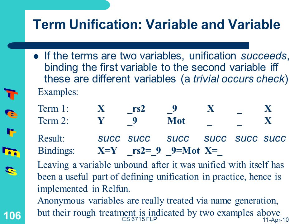 11-Apr-10 CS 6715 FLP 105 Term Unification: Variable and Structure If one term is a variable and the other a structure not containing the variable (so-called occurs check), unification succeeds, binding the variable to this structure (except for an anonymous variable) Examples: Term 1:Xc[]rs[1] duo[X,Y] duo[X,Y] Term 2:c[]_Y _9 X Result: succsuccsucc succ fail Bindings:X=c[]Y=rs[1] _9=duo[X,Y] The occurs check is omitted from many Prolog implementations for efficiency reasons, and is currently also absent from Relfun.