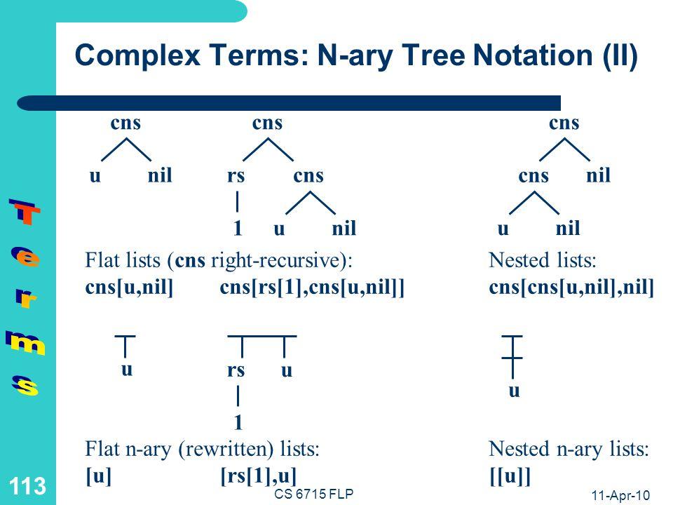 11-Apr-10 CS 6715 FLP 112 Complex Terms: N-ary Tree Notation (I) cns[e 1, cns[e 2, …cns[e n, nil]…]] [e 1 , e 2 , …, e n ] cns e1e1 e2e2 … enen nil … … e1 e1 e2 e2 en en …