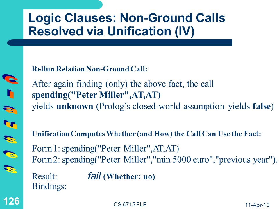 11-Apr-10 CS 6715 FLP 125 Logic Clauses: Non-Ground Calls Resolved via Unification (III) Form 1: spending( Peter Miller ,Amount,Time) Form 2: spending( Peter Miller , min 5000 euro , previous year ).