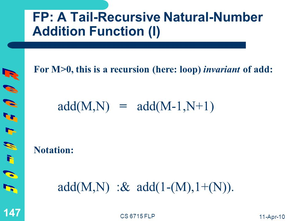 11-Apr-10 CS 6715 FLP 146 Recursion in the Definition of Clauses Chapter 4
