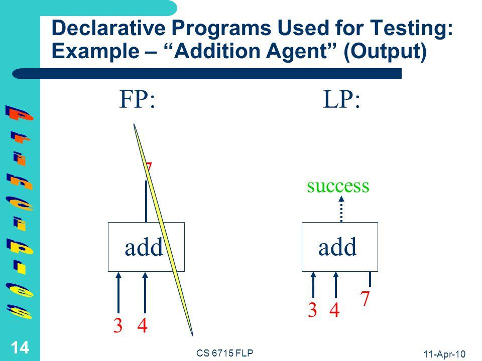 11-Apr-10 CS 6715 FLP 13 add FP:LP: 7 Declarative Programs Used for Testing: Example – Addition Agent (Input) 3 4 3 4 add 7