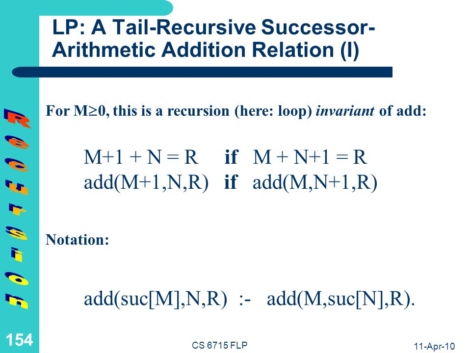 11-Apr-10 CS 6715 FLP 153 FP: A Tail-Recursive Successor- Arithmetic Addition Function (II) Unconditional Equations with Recursive Call as a Foot (Tail-Recursion): add(0,N) :& N.