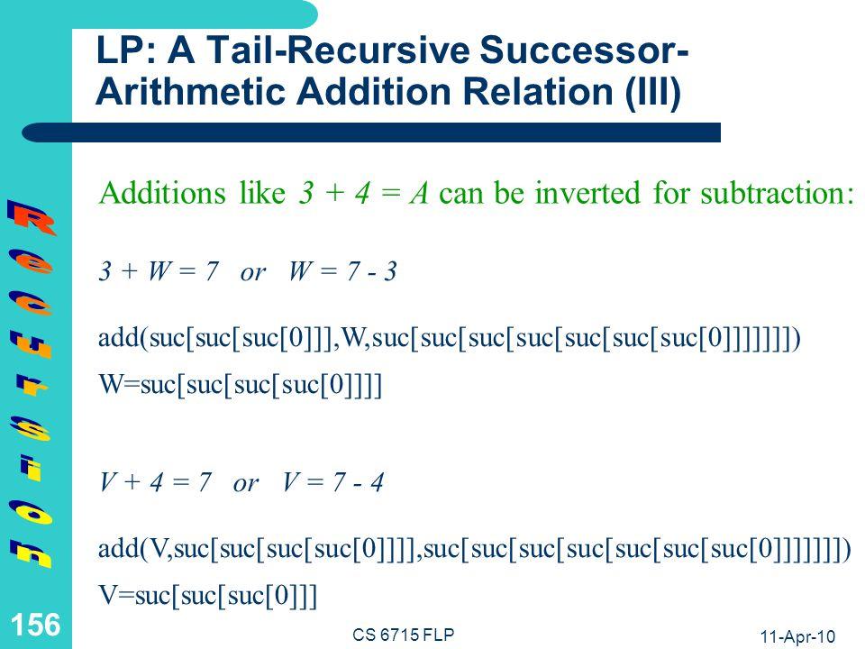 11-Apr-10 CS 6715 FLP 155 LP: A Tail-Recursive Successor- Arithmetic Addition Relation (II) Horn Logic Rule with Recursive Call as a Single Premise (Tail-Recursion): add(0,N,N).