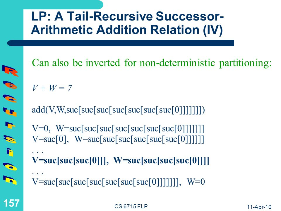 11-Apr-10 CS 6715 FLP 156 LP: A Tail-Recursive Successor- Arithmetic Addition Relation (III) 3 + W = 7 or W = 7 - 3 add(suc[suc[suc[0]]],W,suc[suc[suc[suc[suc[suc[suc[0]]]]]]]) W=suc[suc[suc[suc[0]]]] V + 4 = 7 or V = 7 - 4 add(V,suc[suc[suc[suc[0]]]],suc[suc[suc[suc[suc[suc[suc[0]]]]]]]) V=suc[suc[suc[0]]] Additions like 3 + 4 = A can be inverted for subtraction: