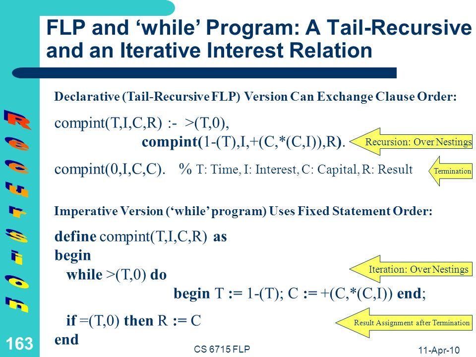 11-Apr-10 CS 6715 FLP 162 FLP: A Tail-Recursive Float-Number Compound Interest Relation Datalog-like Rule with Recursive Call as a Last Premise (Tail-Recursion): compint(0,I,C,C).