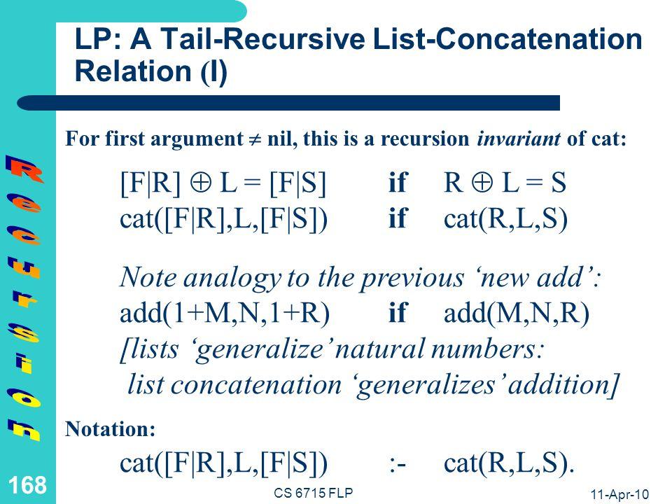 11-Apr-10 CS 6715 FLP 167 FP: A Recursive List-Concatenation Function ( II) Unconditional Equations with Recursive Call inside cns (Full Recursion): cat([],L) :& L.