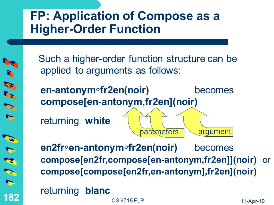 11-Apr-10 CS 6715 FLP 181 FP: Function Composition as a Higher- Order Function (II) However, we want to permit simple definitions of higher-order functions (without so-called -variables for defining new anonymous functions) Hence is regarded here as the infix version of an (associative) binary higher-order constructor compose while the entire structure compose[f,g] is regarded as a complex higher-order function name: en-antonym fr2enbecomes compose[en-antonym,fr2en] en2fr en-antonym fr2enbecomes compose[en2fr,compose[en-antonym,fr2en]] or compose[compose[en2fr,en-antonym],fr2en]