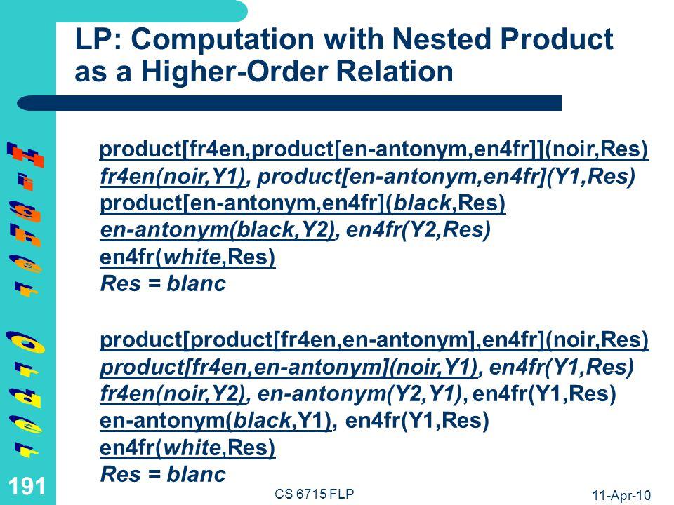 11-Apr-10 CS 6715 FLP 190 LP: Computation with Simple Product as a Higher-Order Relation product[fr4en,en-antonym](noir,Res) fr4en(noir,Y1), en-antonym(Y1,Res) en-antonym(black,Res) Res = white