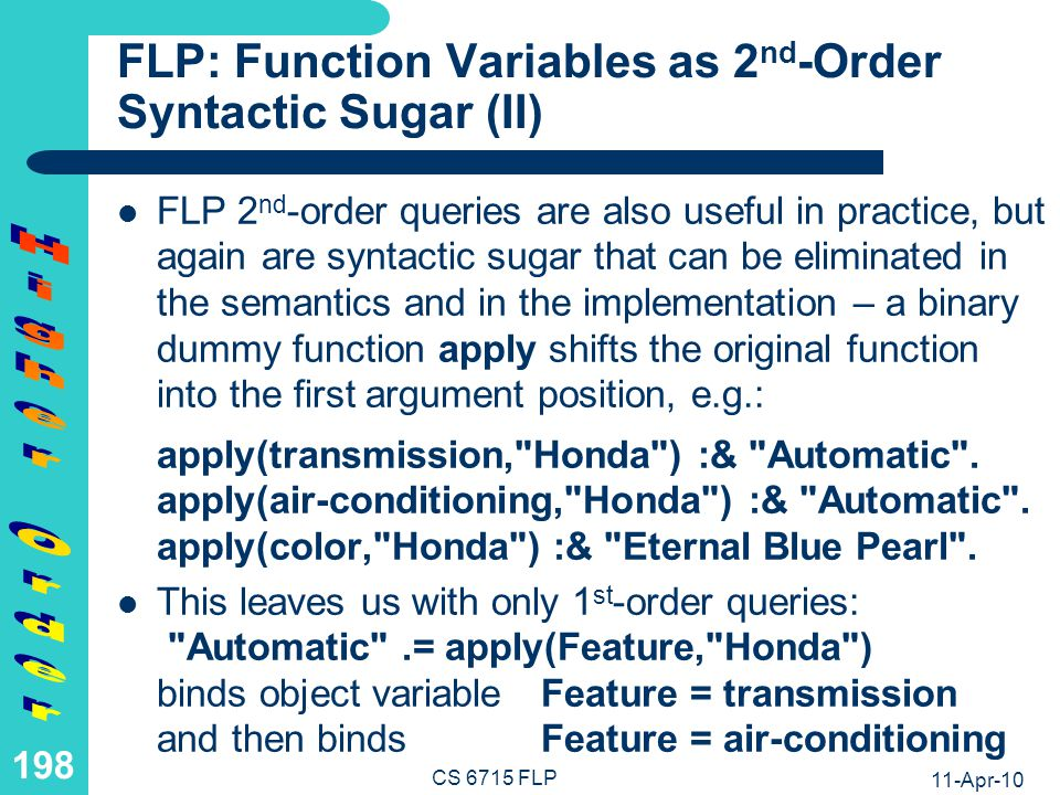 11-Apr-10 CS 6715 FLP 197 FLP: Function Variables as 2 nd -Order Syntactic Sugar (I) Similarly, consider the unary point base describing individuals or resources in the single argument, e.g.: transmission( Honda ) :& Automatic .