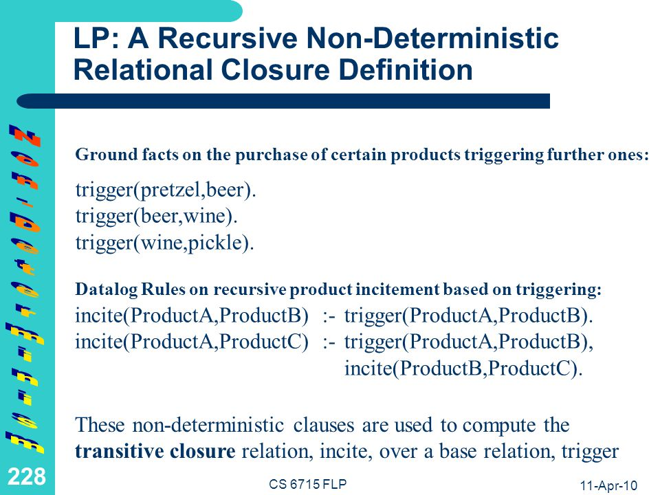 11-Apr-10 CS 6715 FLP 227 Preview of a Transitive Closure pretzelbeerwinepickle trigger incite The base relation or function trigger has the transitive closure relation or function incite