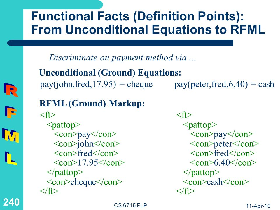 11-Apr-10 CS 6715 FLP 239 Relational Rules: From Prolog to RFML RFML (Non-Ground) Markup: Prolog (Non-Ground) Rule: satisfied(C,I,P) :- buy(week1,C,I,P), buy(week2,C,I,P).