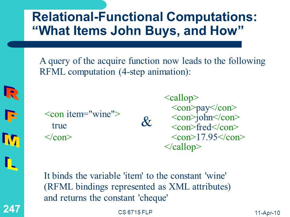 11-Apr-10 CS 6715 FLP 246 Relational-Functional Computations: What Items John Buys, and How A query of the acquire function now leads to the following RFML computation (4-step animation): It binds the variable item to the constant wine (RFML bindings represented as XML attributes) and returns the constant cheque pay john fred 17.95 satisfied john item 17.95 &