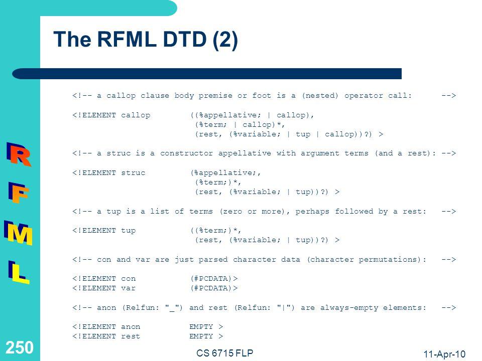 11-Apr-10 CS 6715 FLP 249 The RFML DTD (1) X term instead of nesting X --> X --> <!ELEMENT pattop (%appellative;, (%term;)*, (rest, (%variable;   tup))?) >