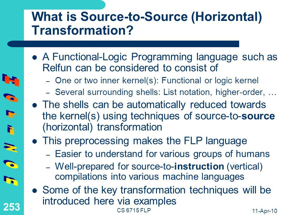 11-Apr-10 CS 6715 FLP 252 Source-to-Source (Horizontal) Transformation Chapter 8