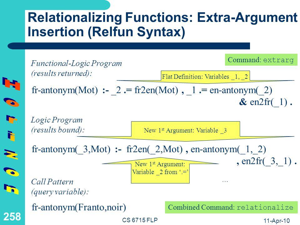 11-Apr-10 CS 6715 FLP 257 Relationalizing Functions: Extra-Argument Insertion (Pseudo-Code Syntax) fr-antonym(Mot) if _2 = fr2en(Mot) and _1 = en-antonym(_2) then en2fr(_1) Flat Definition: Variables _1, _2 Functional-Logic Program (results returned): fr-antonym(_3,Mot) if fr2en(_2,Mot) and en-antonym(_1,_2) and en2fr(_3,_1) New 1 st Argument: Variable _3 Logic Program (results bound): New 1 st Argument: Variable _2 from = … Call Pattern (query variable): fr-antonym(Franto,noir)