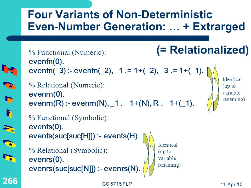 11-Apr-10 CS 6715 FLP 265 Four Variants of Non-Deterministic Even-Number Generation: Flattened … % Functional (Numeric): evenfn() :& 0.