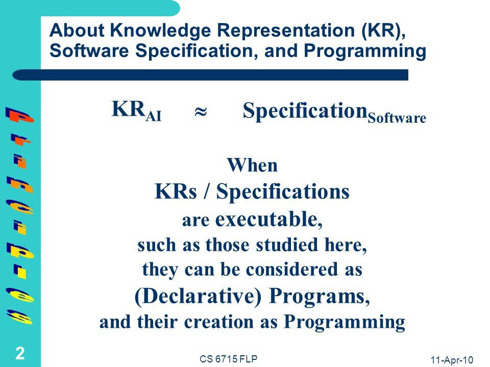 11-Apr-10 CS 6715 FLP 1 Principles of Functional and Logic Programming