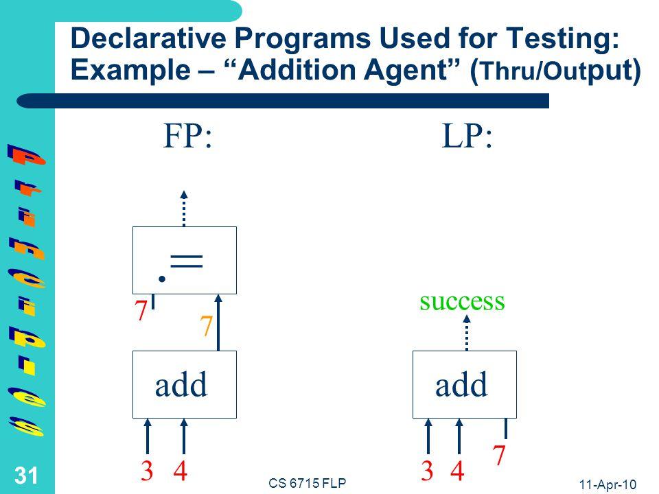 11-Apr-10 CS 6715 FLP 30 add FP:LP: add.= 7 7 Declarative Programs Used for Testing: Example – Addition Agent (Input) 3 4 3 4