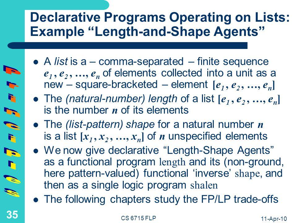 11-Apr-10 CS 6715 FLP 34 List-Universality Principle Functional-Logic Programming: (Nested) Lists are the universal semi-structured complex datatype of declarative programming – predating XML trees.