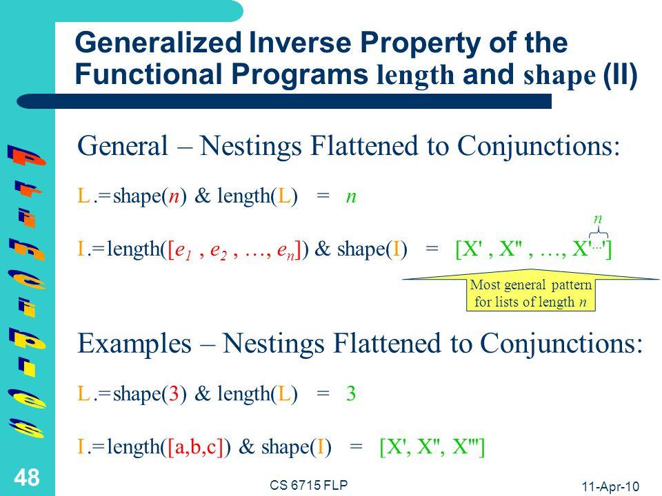 11-Apr-10 CS 6715 FLP 47 Generalized Inverse Property of the Functional Programs length and shape (I) length(shape(n)) = n shape(length([e 1, e 2, …, e n ])) = [X , X , …, X ...
