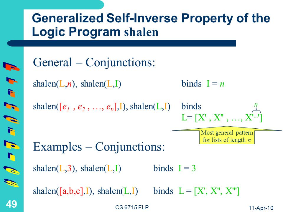 11-Apr-10 CS 6715 FLP 48 Generalized Inverse Property of the Functional Programs length and shape (II) L.= shape(n) & length(L) = n I.= length([e 1, e 2, …, e n ]) & shape(I) = [X , X , …, X ...