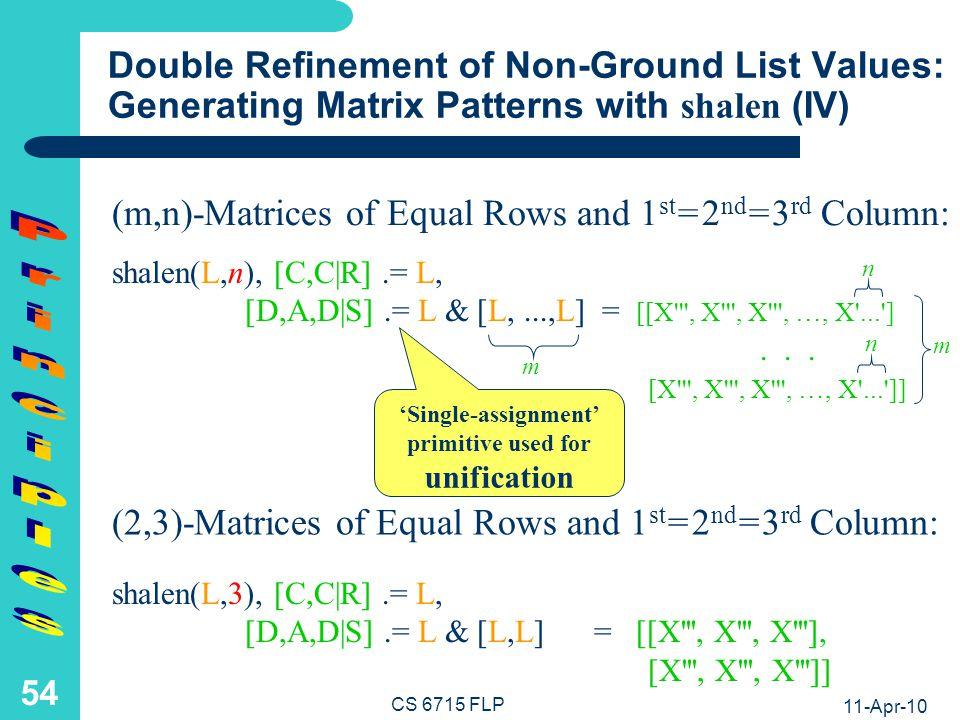 11-Apr-10 CS 6715 FLP 53 Refinement of Non-Ground List Values: Generating Matrix Patterns with shalen (III) shalen(L,n), [D,A,D S].= L & [L,...,L] = [[X , X , X , …, X ... ]...