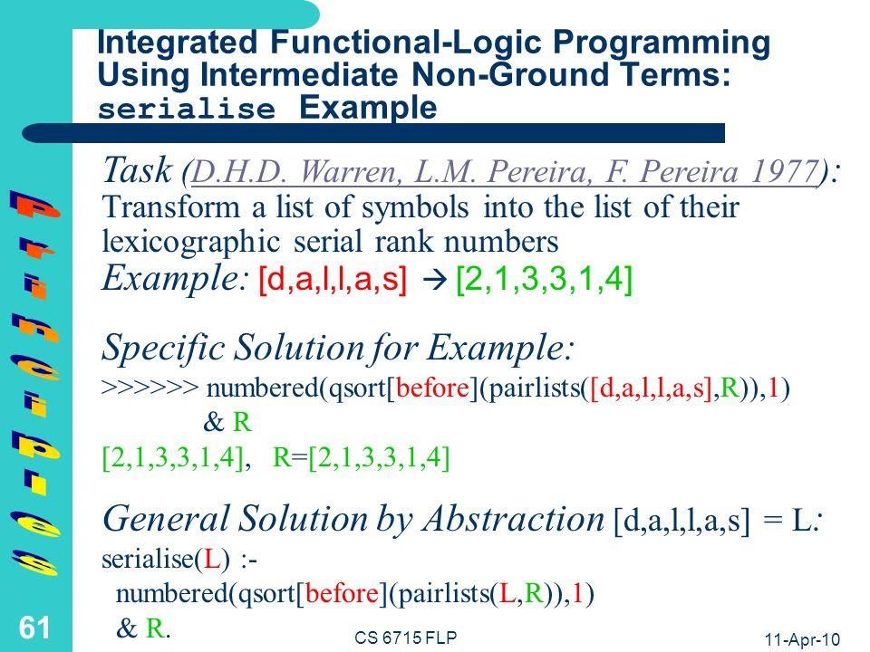 11-Apr-10 CS 6715 FLP 60 numbered([],N).numbered([[X,N] R],N) :- numbered(R,+(N,1)).