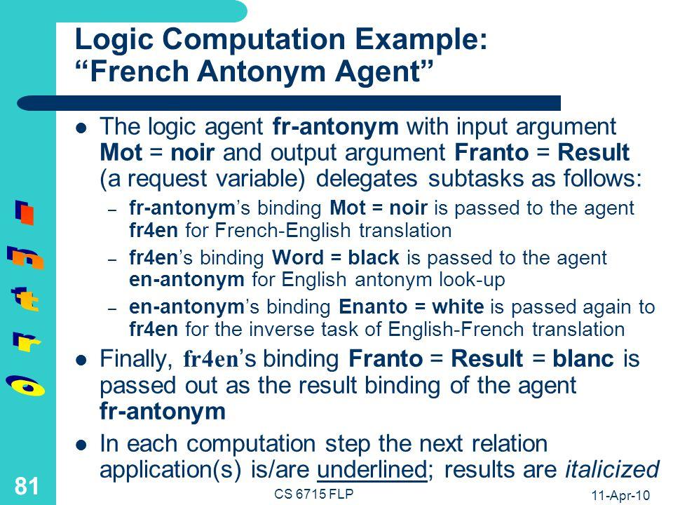 11-Apr-10 CS 6715 FLP 80 Logic Programs: Variable Bindings from Conjunctive Calls (and Base Relations) fr-antonym(Mot,Franto) iffr4en(Mot,Word) and en-antonym(Word,Enanto) and fr4en(Franto,Enanto) en-antonym(black,white) en-antonym(white,black) en-antonym(big,small) en-antonym(small,big)...