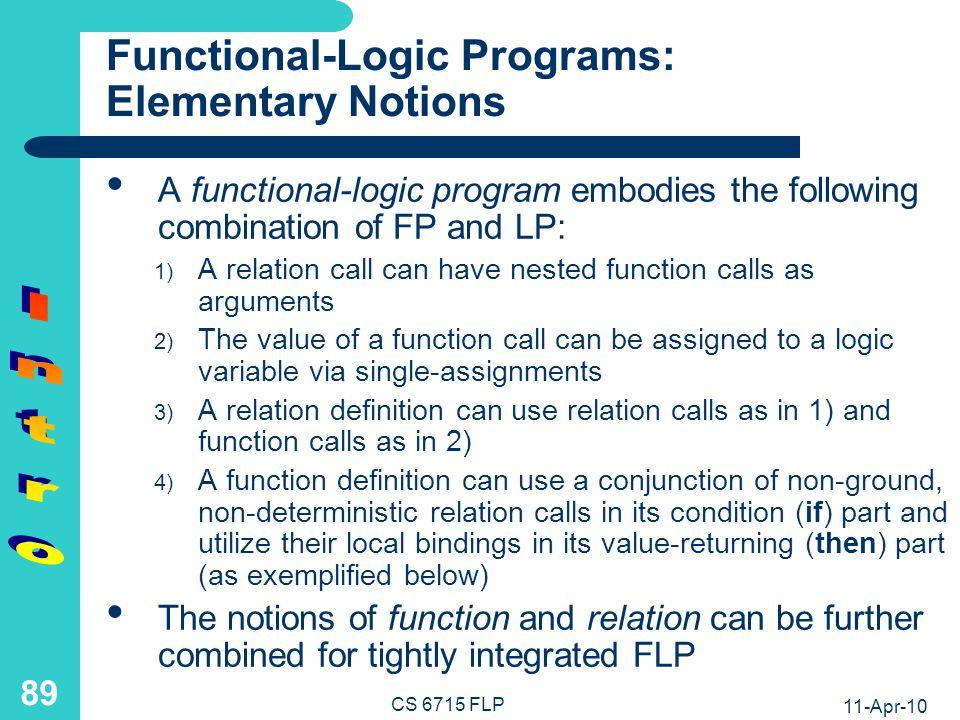 11-Apr-10 CS 6715 FLP 88 Logic Programs: Static Optimization in Conjunctive Calls antonym(X,Y) iffrench(X) and fr4en(X,Word) and en-antonym(Word,Enanto) and fr4en(Y,Enanto) french(X)if fr4en(X,_) antonym(X,Y) iffr4en(X,_) and fr4en(X,Word) and en-antonym(Word,Enanto) and fr4en(Y,Enanto) antonym(X,Y) iffr4en(X,Word) and en-antonym(Word,Enanto) and fr4en(Y,Enanto)