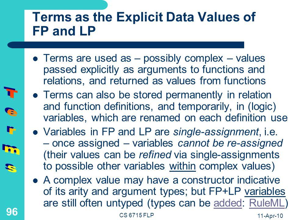 11-Apr-10 CS 6715 FLP 95 Simple vs.Complex Terms, Ground vs.