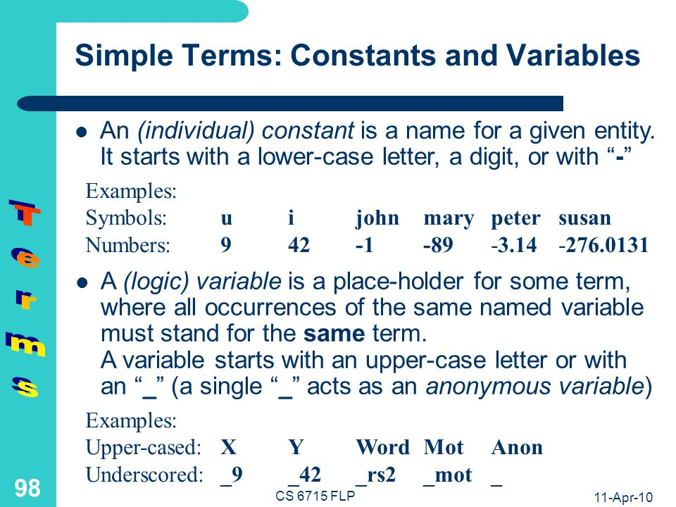 11-Apr-10 CS 6715 FLP 97 Taxonomy of Terms: Two Trees with Overlapping Distinctions Term Simple Term Constant Symbol Number Variable Named Upper-cased Underscored Anonymous Complex Term Structure (application of constructor to terms) List (short form for nested binary cns structure) Term Ground (variablefree) Non-ground (variableful) FP permits only ground terms as arguments and returned values LP also permits non-ground terms as arguments FLP even permits non-ground terms as arguments and as returned values
