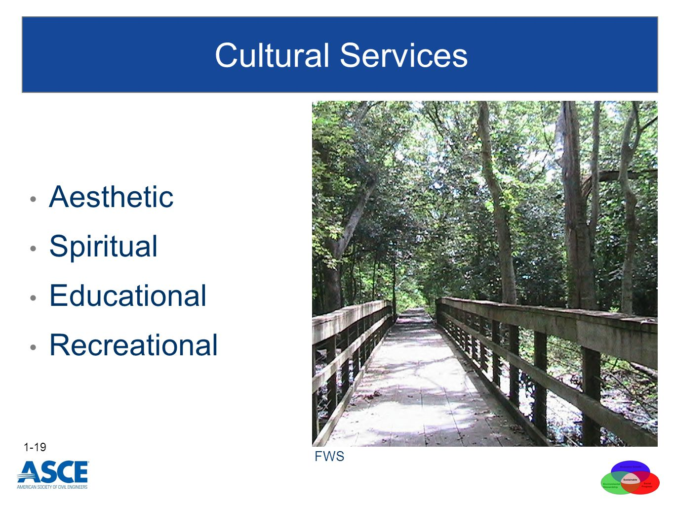 Aesthetic Spiritual Educational Recreational Cultural Services 1-19 FWS