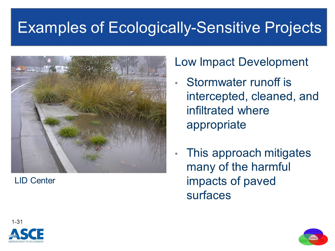Examples of Ecologically-Sensitive Projects 1-31 LID Center Low Impact Development Stormwater runoff is intercepted, cleaned, and infiltrated where appropriate This approach mitigates many of the harmful impacts of paved surfaces